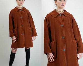Velvet Coat Vintage 60s Brown Velvet Made in Canada IRVING POSLUN Quilted Mod Swing Coat (m l)