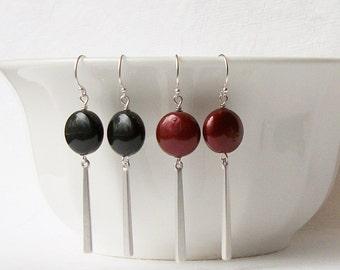 Black or Burgundy Pearl Drop Earrings, Black Pearl Earrings, Wine Pearl Earrings