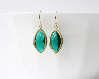 Faux Emerald Green Earrings, Birthstone Jewelry