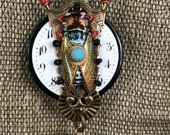 Steampunk Necklace, Steampunk Cicada Pendant, Altered Art Collage Pendant, Made in USA