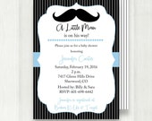 Mustache Baby Shower Invitation, Little Man Baby Shower Invite, printable, digital file {Baby87}