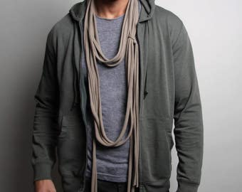 Beige Scarf, Long Brown Scarf, Mens, Womens, Jersey Cotton