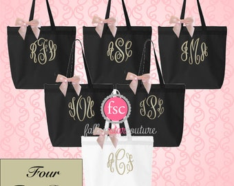 NEW! 4 personalized bridesmaid tote bags, monogrammed tote bag, wedding party gifts, wedding tote bag, personalized wedding bag, tote