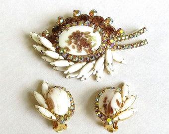 Vintage Juliana Milk Glass Brooch and Earrings Set, Gold Fluss Amber and Aurora Borealis Rhinestones Verified D&E