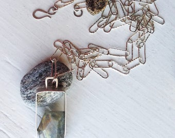 Labradorite Chunk Necklace in Silver