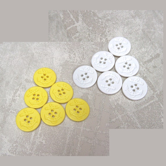 Ship Anchor Buttons - CHOOSE 1 inch 3/4 inch Yellow or 18mm 25mm White - Nautical Ship Anchor Pea Coat Plastic Sewing Buttons PL583 PL584