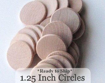 Unfinished Wooden Circles 1.25 inch x 1/8inch, Pack of 100