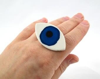 SALE Ceramic Eye Adjustable Ring