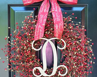 Winter Berry Wreath- Winter Wreath- Wedding Wreath- Door Wreath- Christmas Wreath- Red and Gold Christmas- Winter Decorations- Winter Decor