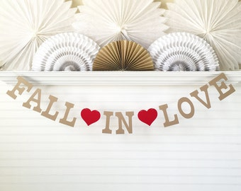 Fall In Love Banner - 5 inch Letters with Hearts - Fall Wedding Banner Bridal Shower Garland Wedding Decor Fall Banner Rustic Wedding Sign