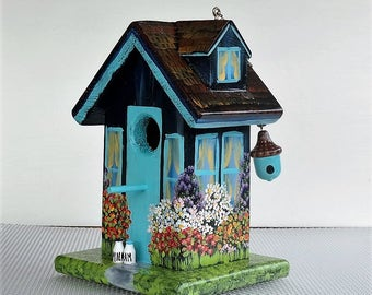 Unique Navy Blue and Turquoise Birdhouse , Handcrafted , Hand Painted, with Blue Acorn in Eaves