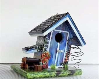 World's Best Mom Barn Birdhouse ,with a Little Twist and a Little Lean  Handcrafted , Hand Painted , Outdoor Wild Bird House with Extrax