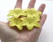 Yellow Acrylic Flower Beads Bead Caps HUGE 48mm (8)