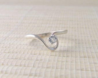 Aquamarine Swirl Solitaire Ring Sterling Silver Swirl March Birthstone Made To Order