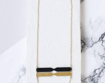 Chord Necklace, Triple Pendant Necklace, Lariat NEcklace, Black and Gold NEcklace, Long Necklace, Statement Necklace