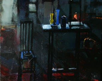 Original Oil Painting Abstracted Surreal Still Life Tables Chair Cage and Vases By Bobbie Jansen On Etsy