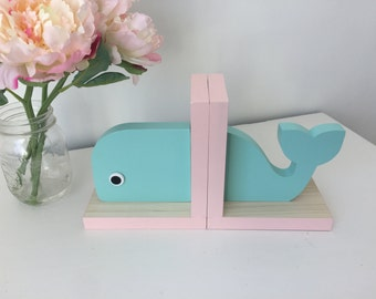Whale Bookends,Aqua and Baby Pink, Nautical Room, Nautical Nursery, Nautical Baby, Beach Bookends, Nautical Kids, Whale Baby, Wooden Whale