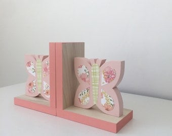 Butterfly Bookends ,Butterfly Girls Decor,Butterfly Nursery, Wood Bookends, Children's Bookends, Butterfly Baby, Butterfly Baby Gift, Pink