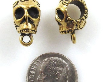 TierraCast Pewter Large Hole Euro Bails-ANTIQUE GOLD SKULL (2)