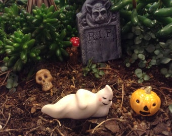 Ceramic Ghost  OH MY, its a Laying   GHOST   Boo   terrarium miniature glazed Pottery . Spooky Boo Goblins Halloween decor safe Outside