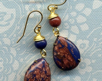 Lapis Lazuli Gold stone Earrings, Unique Asymmetrical Earrings,18 K Gold Filled Earrings, Drop Earrings, Blue Gold  Earrings by AnnaArt72