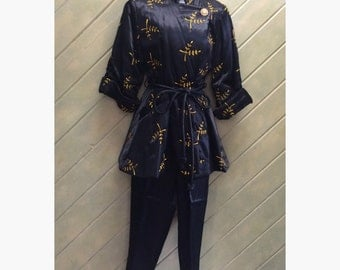 1950s Black Satin With Yellow Embroidery Vintage Lounging Set PJs Paulette Pajamas Rock a Billy Like New