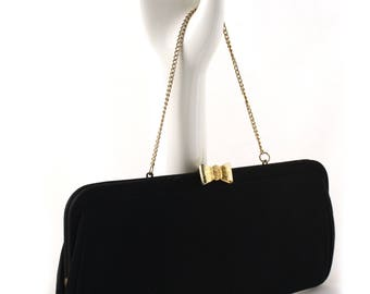 50s Black Evening Bag Clutch - Gold Bow Snap - Gold Satin Lining - Hey Viv Vintage