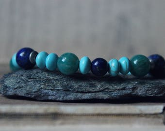 Oceans. Rustic, Bohemian Hand-strung Beaded Gemstone Bracelet, Amazonite, Lapis and Turquoise Magnesite.