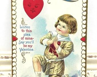 Vintage Valentine's Day Postcard, Vintage Postcard, Valentine Postcard, Valentine Ephemera, Young Boy on his Knees Professing his Love