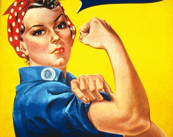 WW II We Can Do It Public Service Poster - Rosie the Riveter Poster - Women's Movement Poster - Women's Rights Poster - Feminism Art