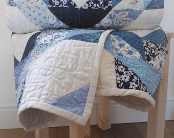 Blue and White Diamond & Star Patchwork Quilt Bed Runner Throw Country Cottage / Shabby Chic Custom/Made to Order