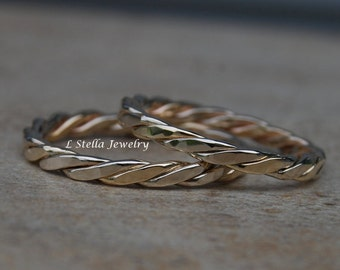 Bands Twisted Stackable Twisted Wire 14K Yellow Gold Wedding 3mm wide unisex narrow bands