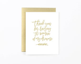 mother of the bride card, father of the bride card, to my in laws card, wedding day card, Thank you for raising the woman of my dreams card