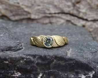 Sapphire & 14k Gold Leaf Ring