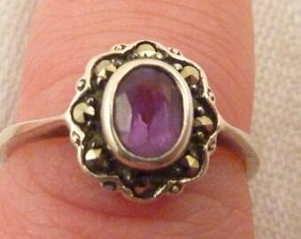 Vintage Sterling Silver Amethyst Marcasite Ring
