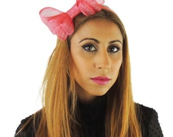 Coral Pink Fascinator Hat for Weddings, Occasions and Parties on a Headband **SAMPLE SALE