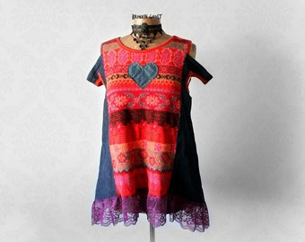 Bohemian Red Top Open Shoulder Shirt Shabby Denim Tunic Boho Chic Clothing Upcycled Sweater A-Line Loose Fit Eco Gypsy Clothes L 'SHELBY'