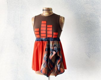 Bohemian Tank Top Reconstructed Clothing Sleeveless Tunic Women's Babyboll Funky Clothes Empire Waist Shirt Hippie Chic Fashion S M 'SOPHIA'
