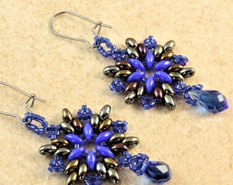 Blue and Metallic Twin Bead Bead Work Earrings with Blue Faceted Crystal Teardrop