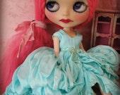 BLYTHE DRESS - Vintage Styled Shabby Elegance Tattered/Layered/Hand-Dyed Silk Dress  - Bright Aqua