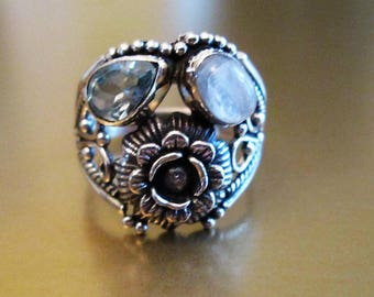 RING  - MOONSTONE - Blue Topaz - Flower - Ornate - Wide - 925 - Sterling Silver  - size 9   moonstone471