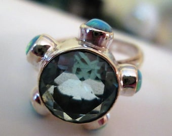 RING - Blue TOPAZ  - Surrounded by Fire OPALS  - 925 - Sterling Silver - size 8  blue 484