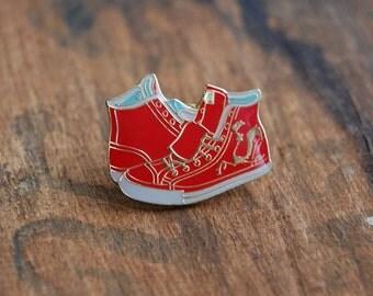 Vintage Chuck Taylor Enamel Pin. High Top Converse. 1980's hard lapel pin.