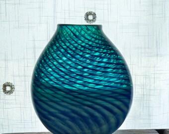 Hand Blown Art Glass ,Ocean Waves,Vase ,Emerald Green , Cobalt Blue