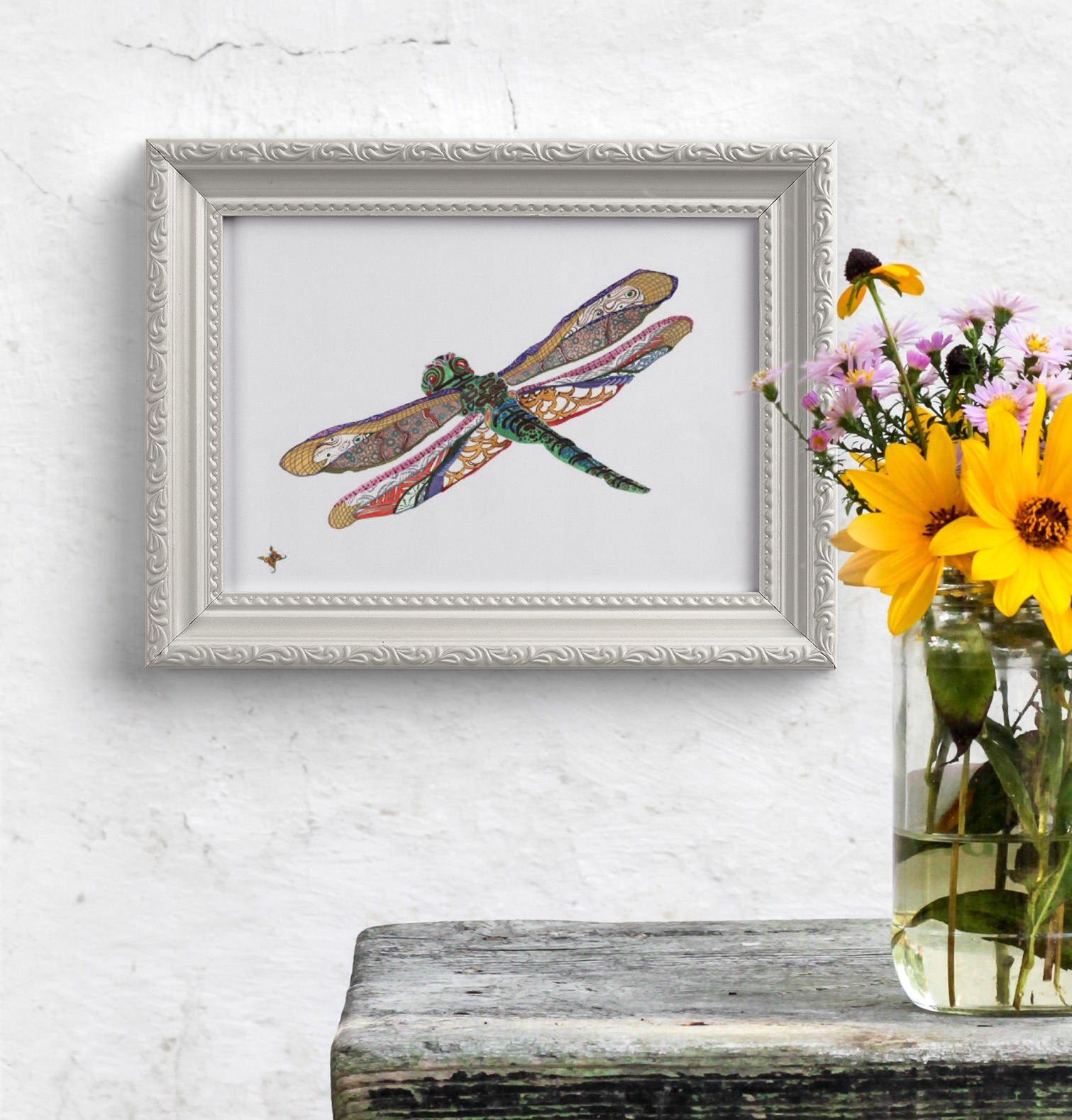 Dragonfly home decor art print boho dragonfly art for Dragonfly mural