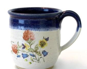 Vintage Style Mug. Cobalt Blue. Glossy White. Clover.