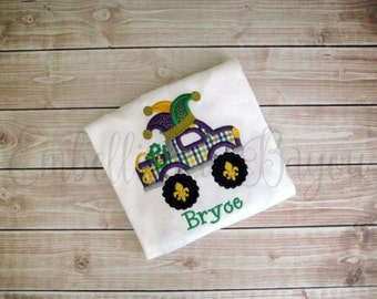Mardi Gras Monster Jester Truck Appliqued T-shirt Personalized for Boys or Girls