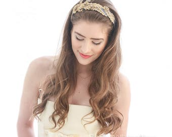 Gold Leaf and Flower Wide Headband on Gray Gold Lace Headband Party Attire Hair Accessory Holiday Headpiece Couture Style Headband