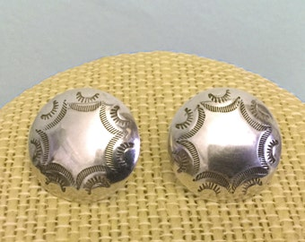 Navajo Stamped Sterling Silver Concho Dome Button Post Earrings - Signed EC - Native American Indian Lightweight Vintage
