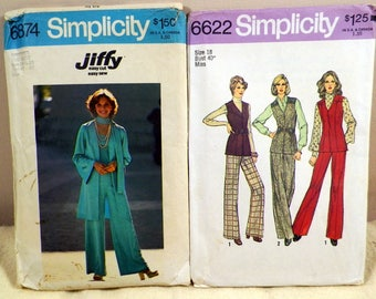 Vintage Simplicity Ladies Clothing Patterns, 1970s Fashion, Hippy, BoHo Pantsuits, Tops, Pants, Sewing Pieces